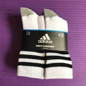 Adidas Men's 6 Pairs Size 6-12 Large Crew Socks